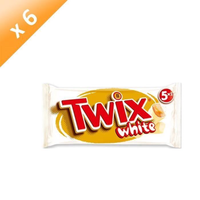 [LOT DE 6] MARS Barres Twix white nappées caramel et enrobées de chocolat au blanc - 5x 52 g