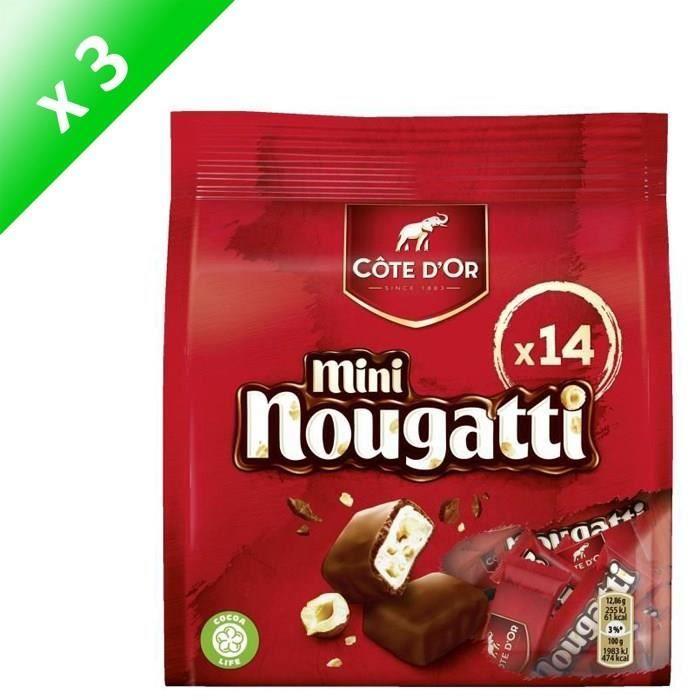 COTE D'OR Nougat enrobé de chocolat au lait, Mini Nougatti - 180 g x3
