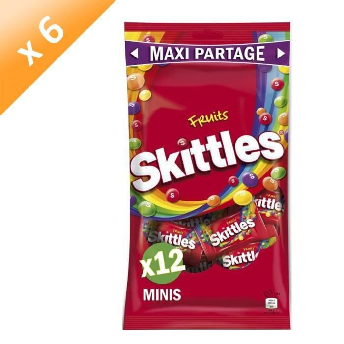 [LOT DE 6] SKITTLES Bonbons tendres dragéifiés Maxi Partage, goûts fruits - 26 g