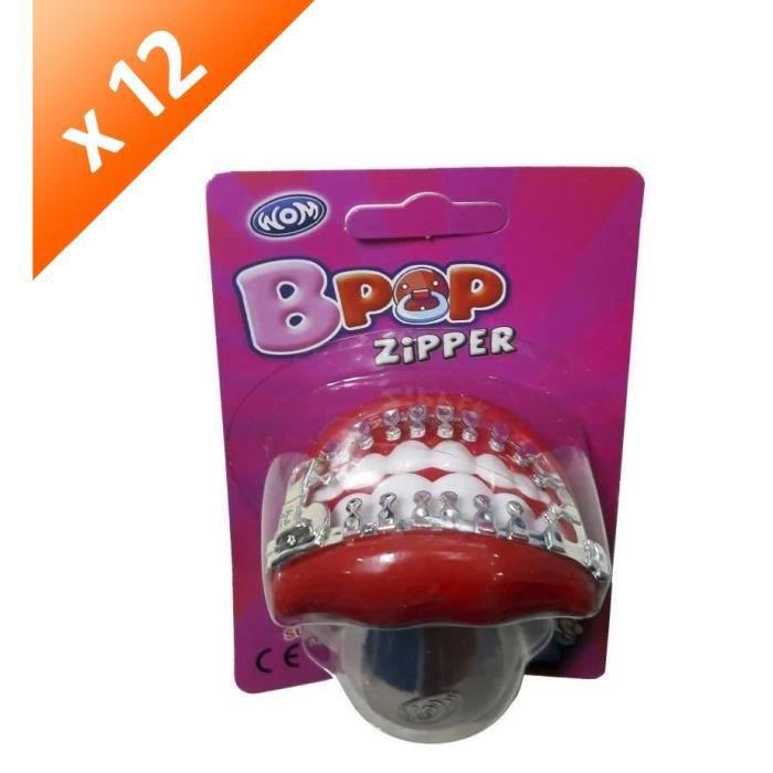 [LOT DE 12] BRABO Sucettes Wom Bpop zipper, goût fraise - 15 g