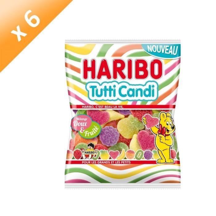 HARIBO Lot de 6 Bonbons Tutti Candi, mélange doux et fruité - 250 g