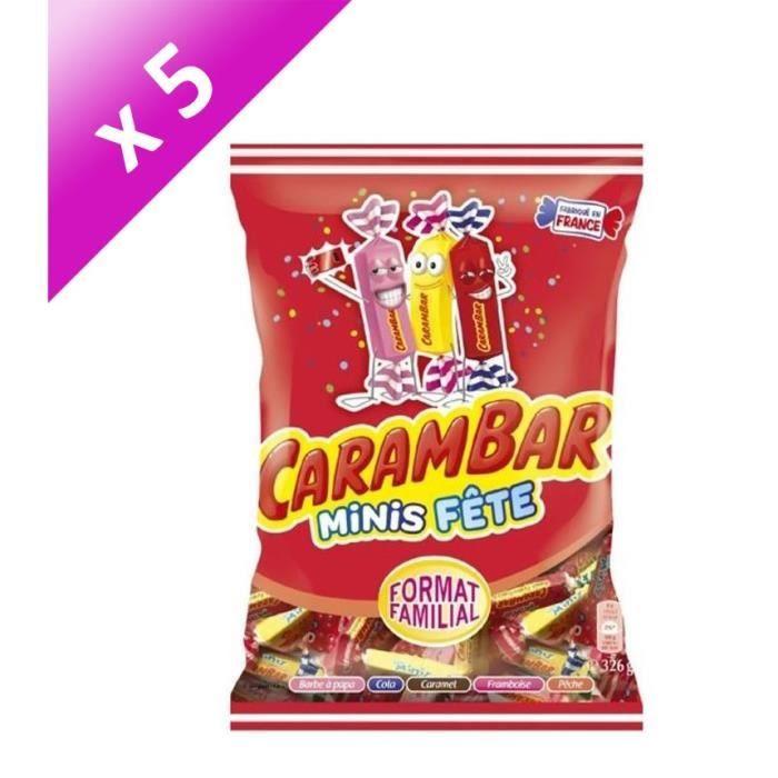 [LOT DE 5] CARAMBAR Bonbons Minis Fête, parfums : barbe à papa, cola, caramel, framboise et pêche - 326 g