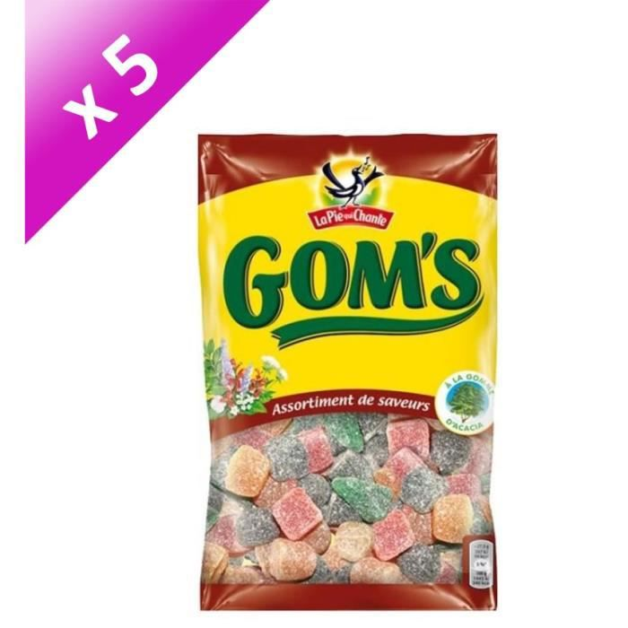 LA PIE QUI CHANTE Lot de 5 Bonbons Gom's, saveur assortis - 265 g