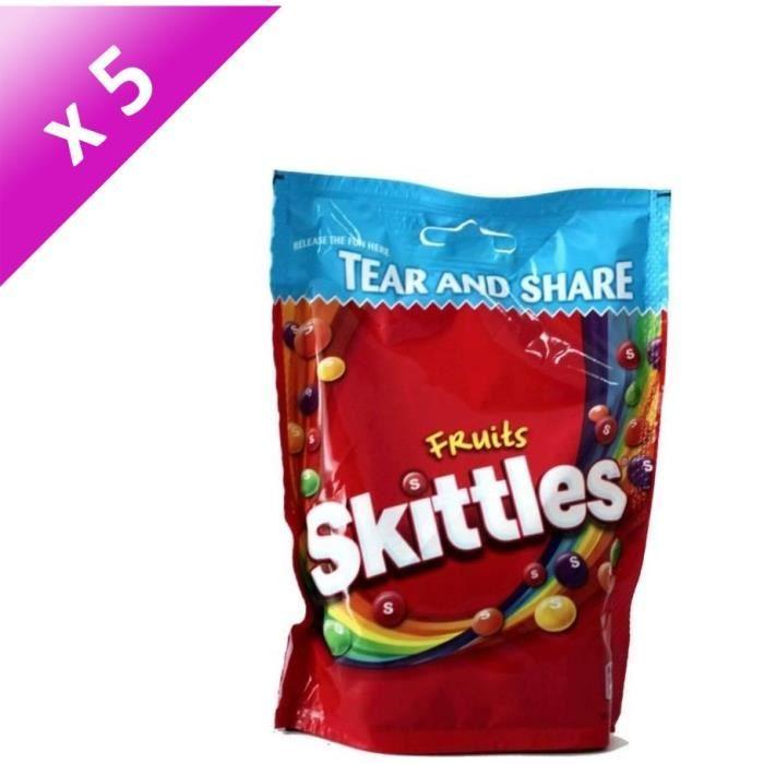 [LOT DE 5] SKITTLES Bonbons tendres dragéifiés Fruit Pouch - 350 g