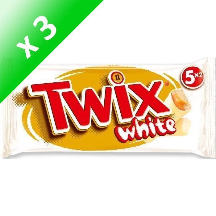 [LOT DE 3] MARS Barres Twix white nappées caramel et enrobées de chocolat au blanc - 5x 52 g