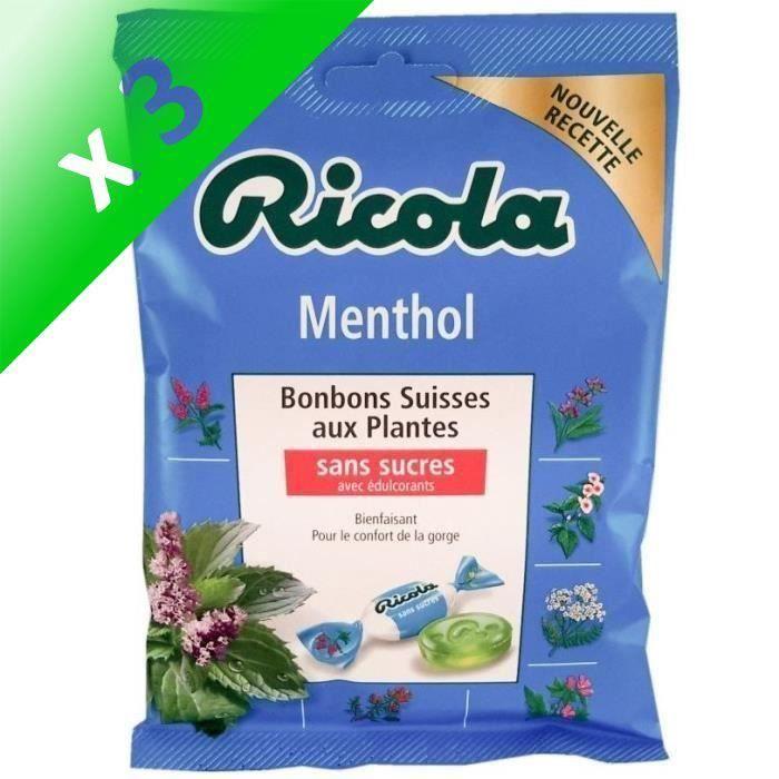[LOT DE 3] RICOLA Bonbons Suisses aux plantes (Menthol), sans sucres - 70 g