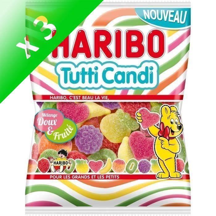 HARIBOBonbons Tutti Candi, mélange doux et fruité - 250 g (Lot de 3)