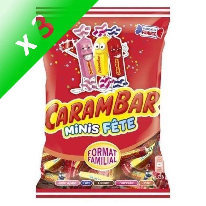 [LOT DE 3] CARAMBAR Bonbons Minis Fête, parfums : barbe à papa, cola, caramel, framboise et pêche - 326 g