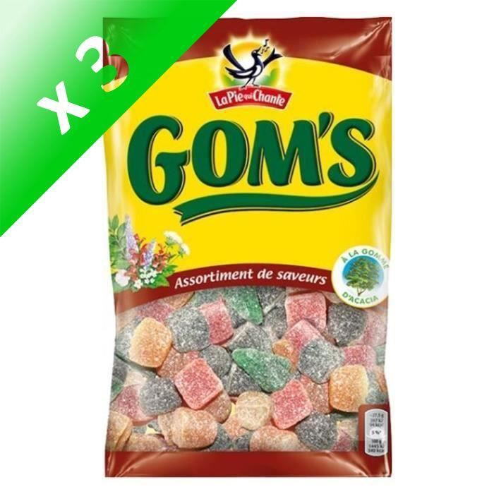 LA PIE QUI CHANTE Bonbons Gom's, saveur assortis - 265 g (Lot de 3)