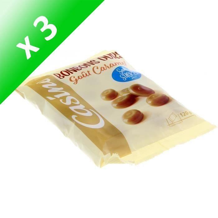 CASINO Caramels durs sans sucres - 120 g (Lot de 3)