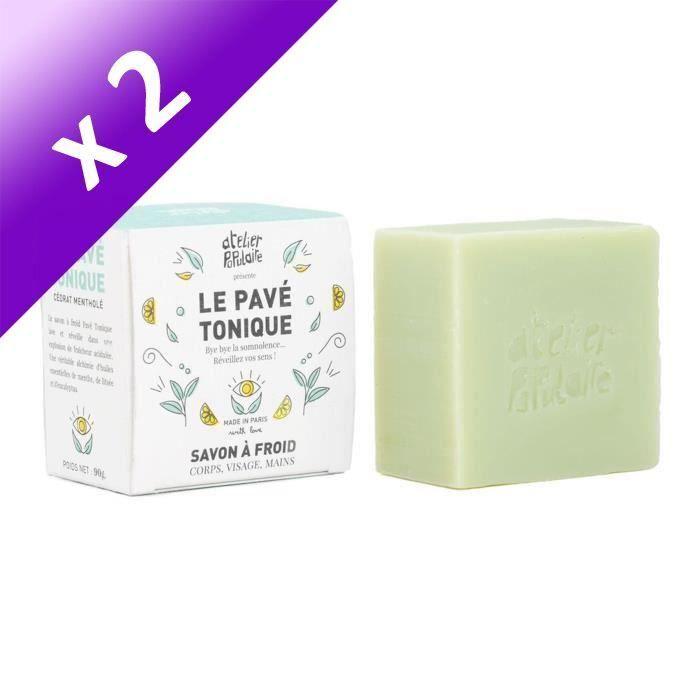 Le Pavé Tonique : Savon saponifié à froid, certifié cosmos Organic, vegan, cruelty free - 90 g (Lot de 2)