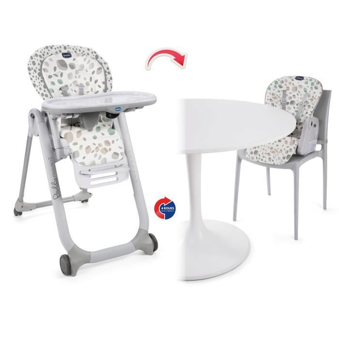 CHICCO Chaise Haute Polly Progress - 4 roues - Motif mirage