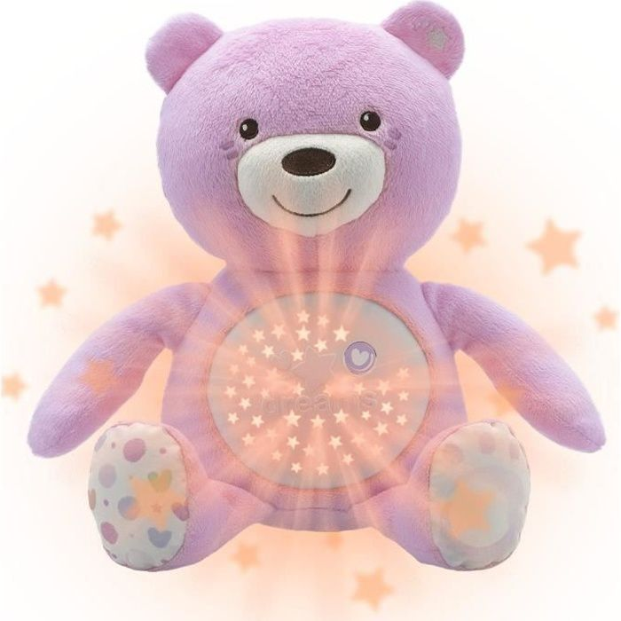 CHICCO Ourson Projecteur Baby Bear Rose First Dreams