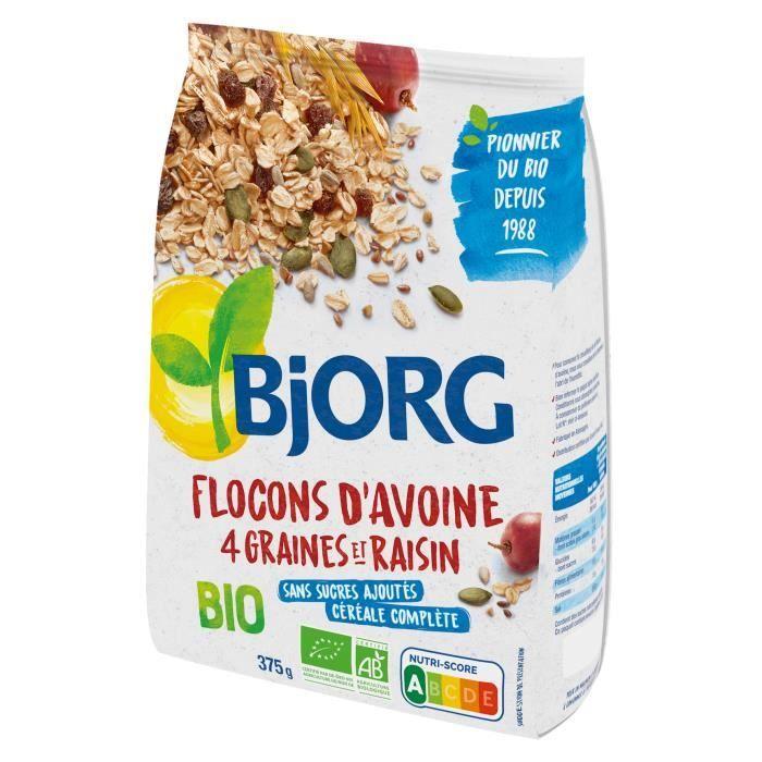 Bjorg Flocons d'Avoine Graines Raisins 375g
