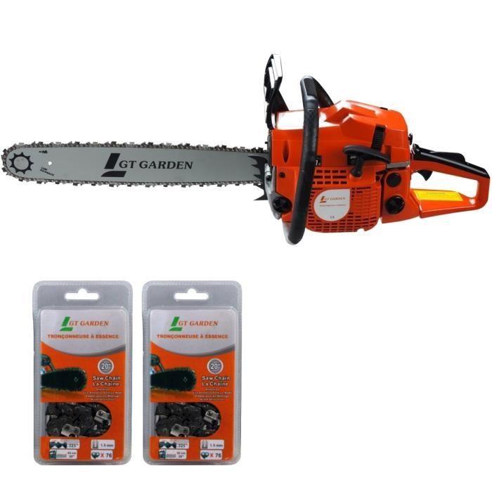 GT GARDEN Tronçonneuse thermique 58 cm3, 50 cm, 2 chaînes