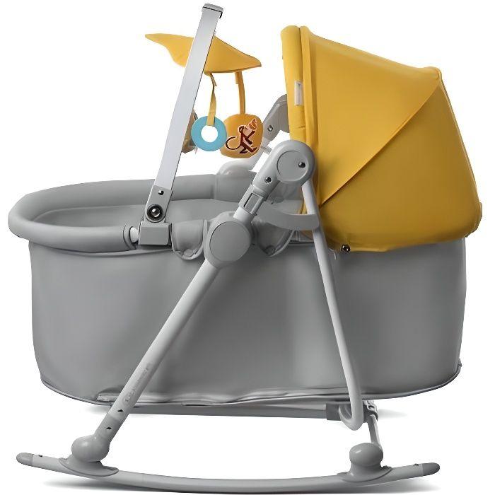 Kinderkraft Unimo berceau 5en1 balancelle transat siège bébé pliable Couleur Jaune