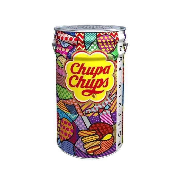 CHUPA CHUPS Megapot de 1000 sucettes Forever fun - Parfums fraise, orange, pomme, cerise, framboise, cola et lait fraise