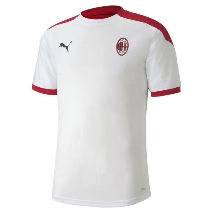 Maillot de football Puma AC MILAN - Réf. 758191-02. Couleur : Blanc, Rouge. Détails. - Col rond. - Manches courtes. - Logos Puma