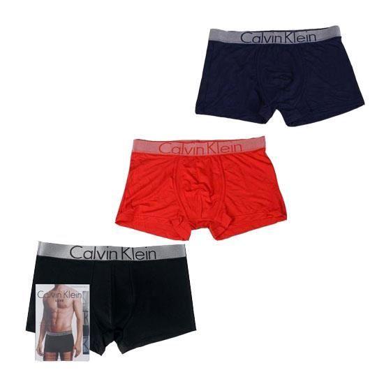 Homme CALVIN KLEIN Trunks Coton Pack de 3 Boxers Noir Rouge Bleu marine