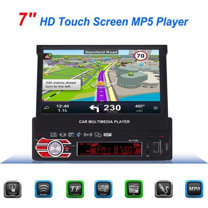 NEUFU 7'' Pouces 1 DIN Autoradio Bluetooth GPS Navigation Écran Tactile MP3 MP4 MP5 + Camera De Recul