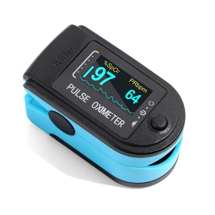 Portable oxymètre de doigt doigt fréquence cardiaque Saturomètre ménage santé moniteurs oxymètre de pouls - BLEU