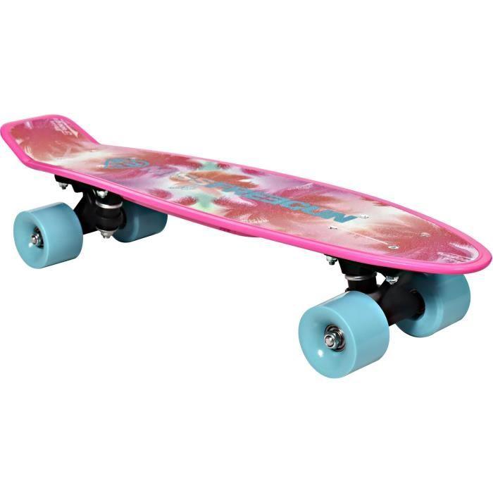 FREEGUN Skateboard Vintage 22,5- Palmier - Enfant fille - Rose et bleu