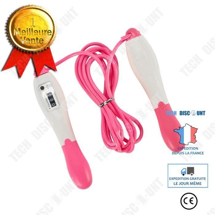 TD® Rose Corde à Sauter Numérique avec Compteur pour Enfant Adultes Gym Brûler des Calories Speed Rope Fitness- 2.5m