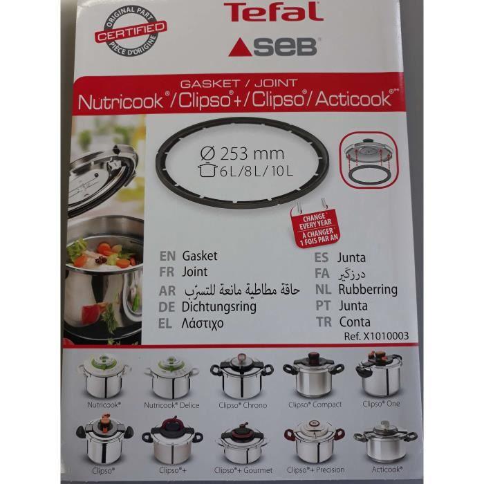 JOINT DE COCOTTE SEB NUTRICOOK ACTICOOK CLIPSO 2 6L/8L/10L X1010003(ATTENTION ne commandez pas en fonction du diametre)
