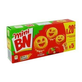 Mini biscuits fourrrés fraise 175g BN