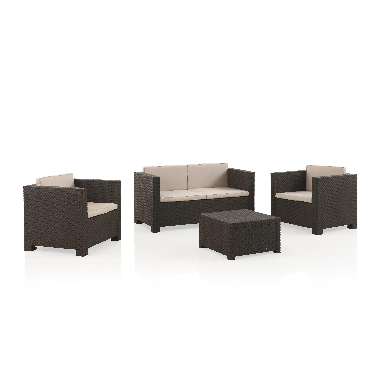 Salon de jardin SOPHIE II en résine moulée: 2 fauteuils, un canapé 2 places, une table basse - chocolat