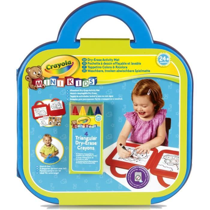 Crayola - Mini Kids - Mon 1er pupitre effaçable à sec (Pochette à dessin) - Coloriage pour enfant et tout petit