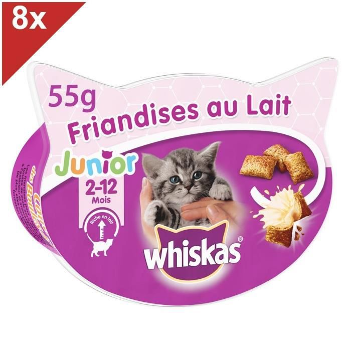 WHISKAS Friandises au lait pour chaton - 2 à 12 mois - 55 g
