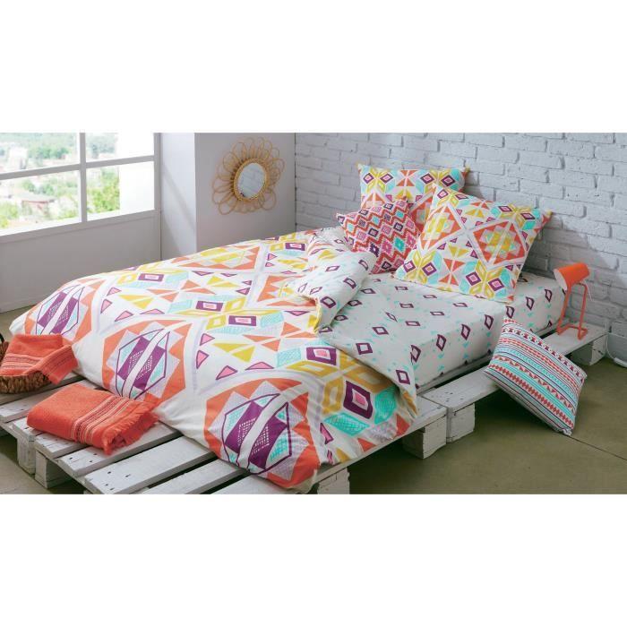 FINLANDEK Drap Housse GIPSY 100% coton - 140 x 190 cm - Blanc, rouge, vert et doré