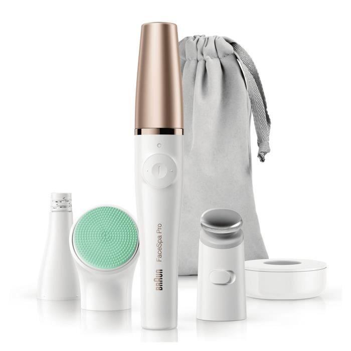 BRAUN FaceSpa Pro 913 Epilateur visage - 3 accessoires - Blanc et bronze