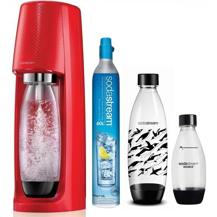 SODASTREAM Méga Pack : Machine à soda Spirit - Rouge