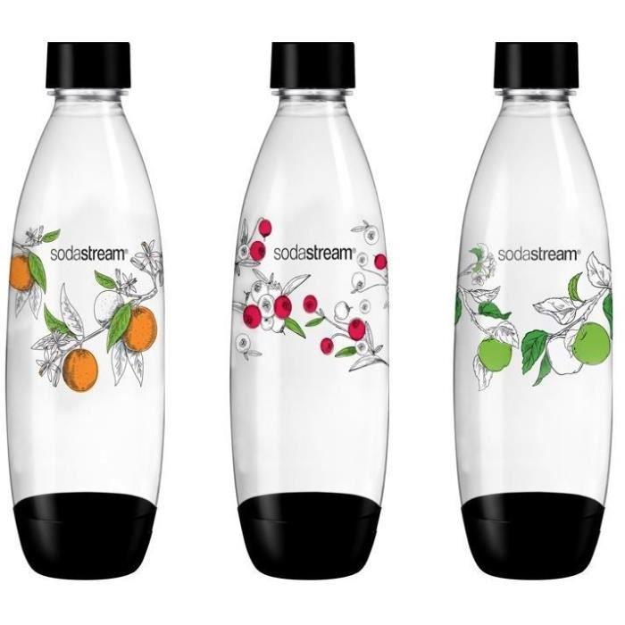 SODASTREAM Pack de 3 bouteilles de gazéification grand modèle Winter flower - Motif de bouteilles aléatoires