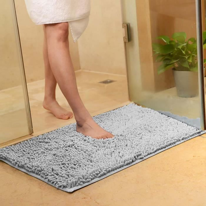 tapis de salle de bain shaggy absorbant et antid