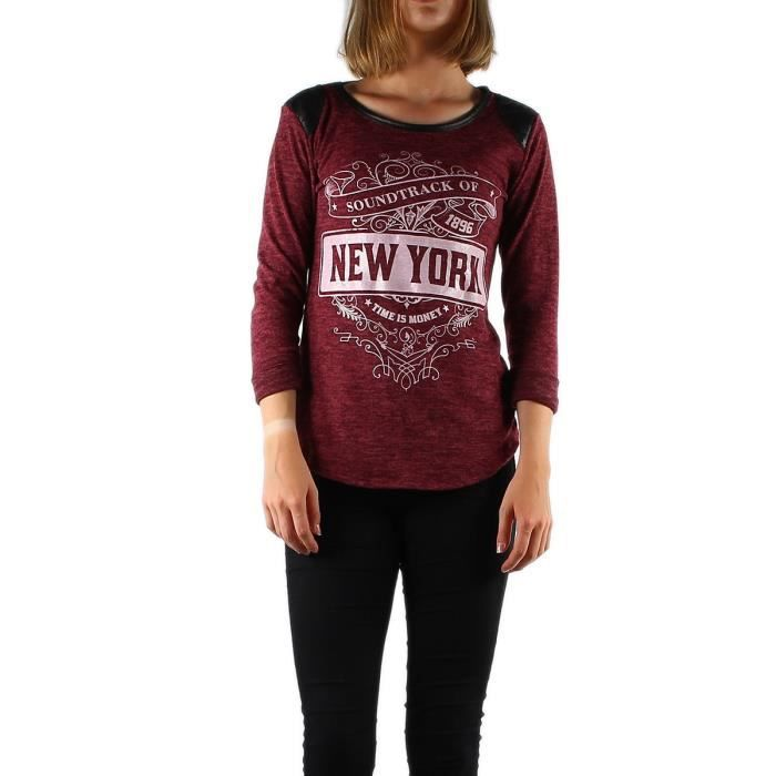 pull t shirt manches longues femme fille t u noir et rouge bordeaux imprim new york rouge rouge. Black Bedroom Furniture Sets. Home Design Ideas