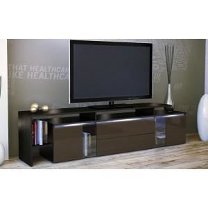 meuble tv design laqu noir et chocolat non achat. Black Bedroom Furniture Sets. Home Design Ideas