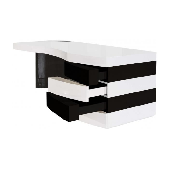 bureau design laqu blanc et noir 4 tiroirs achat vente bureau bureau design laqu blanc e. Black Bedroom Furniture Sets. Home Design Ideas