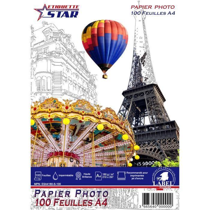 Papier Photo Format A4 150 g//m /² Brillant//S/échage instantan/é//R/ésistant /à leau haute brillance pour imprimantes jet dencre Blanc brillant 50 feuilles