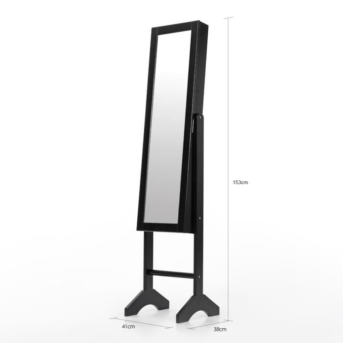 fashion armoire avec miroir bijoux cabinet noir bo te de rangement dressing bijoux pour. Black Bedroom Furniture Sets. Home Design Ideas