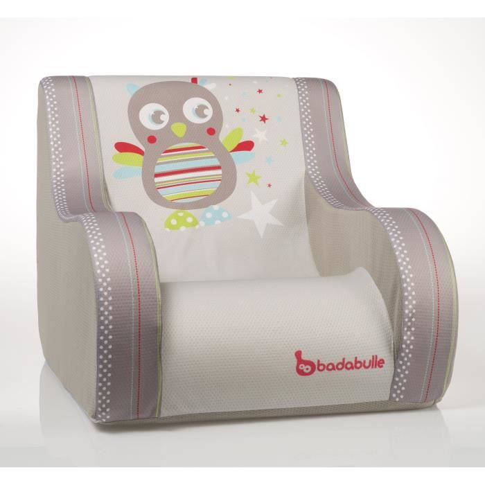 badabulle fauteuil club hibou taupe et multicolore achat. Black Bedroom Furniture Sets. Home Design Ideas