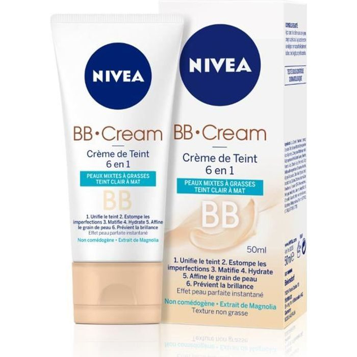 nivea visage bb cream 6en1 px mixtes grasses 50ml achat vente fond de teint base nivea bb. Black Bedroom Furniture Sets. Home Design Ideas