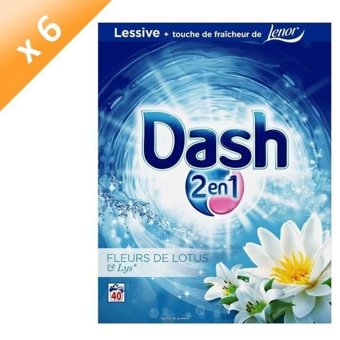 LESSIVE DASH Lot de 6 lessives en poudre - Fleurs de lotus