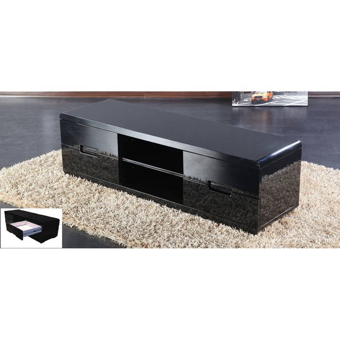 meuble tv noir achat vente meuble tv meuble tv noir cdiscount. Black Bedroom Furniture Sets. Home Design Ideas