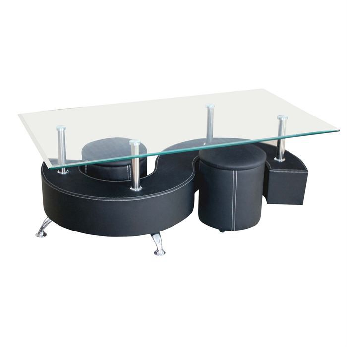 table basse 2 poufs table de lit. Black Bedroom Furniture Sets. Home Design Ideas
