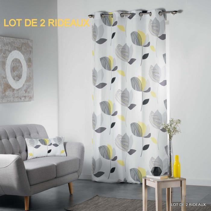 RIDEAU Lot de 2 rideaux a oeillets 140 x 260 cm polyester