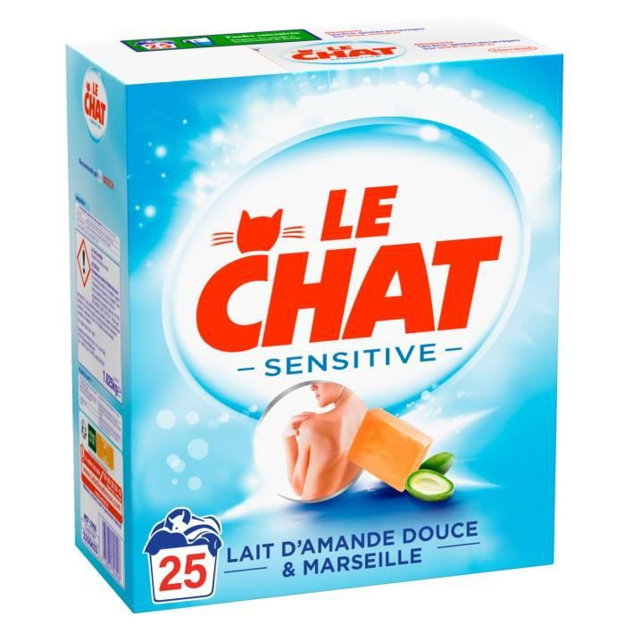le chat lessive sensitive en poudre 25 lavages achat vente lessive liquide le chat pdre. Black Bedroom Furniture Sets. Home Design Ideas
