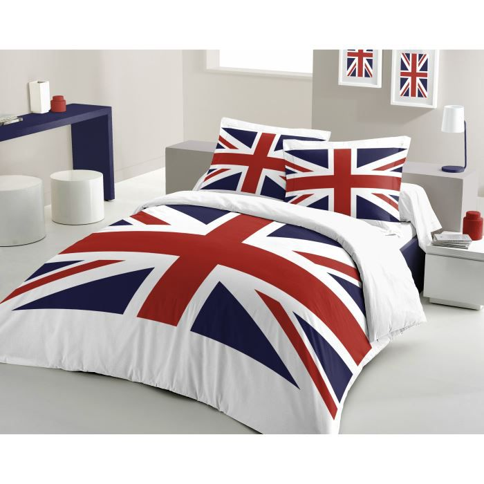 casatxu housse 220x240cm 2 taies union jack achat vente housse de couet. Black Bedroom Furniture Sets. Home Design Ideas